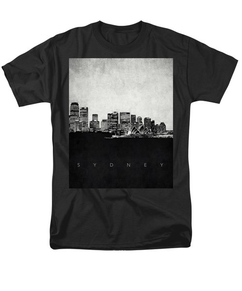 Sydney City Skyline With Opera House Men's T-Shirt  (Regular Fit) by World Art Prints And Designs