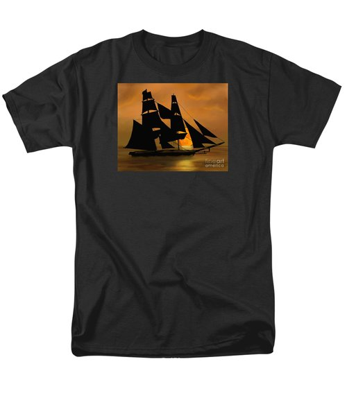 Men's T-Shirt  (Regular Fit) featuring the painting Tall Ship With A Harvest Moon by Judy Filarecki