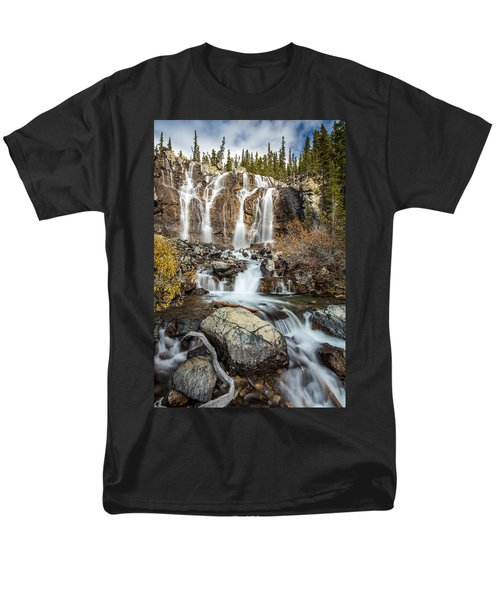 Men's T-Shirt  (Regular Fit) featuring the photograph Tangle Waterfall On The Icefield Parkway by Pierre Leclerc Photography