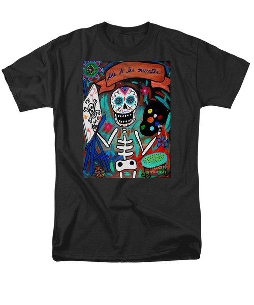 Men's T-Shirt  (Regular Fit) featuring the painting Te Amo Painter Dia De Los Muertos by Pristine Cartera Turkus