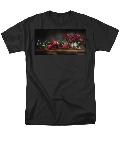 Men's T-Shirt  (Regular Fit) featuring the digital art Teapot Roses by Susan Kinney
