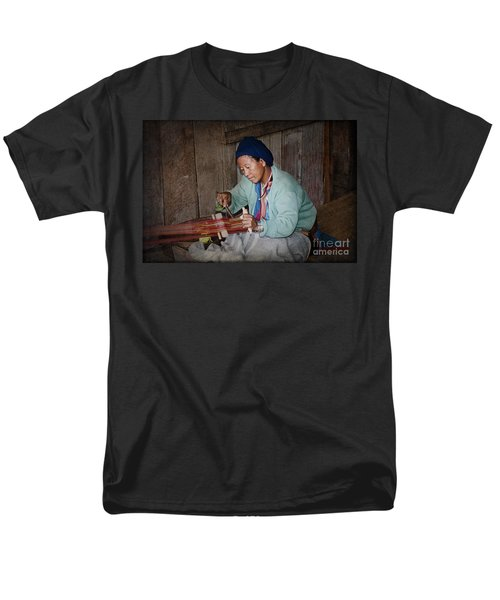 Men's T-Shirt  (Regular Fit) featuring the photograph Thai Weaving Tradition by Heiko Koehrer-Wagner