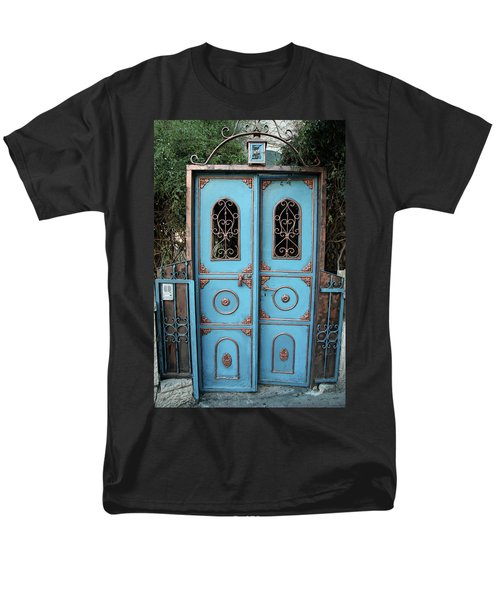 Men's T-Shirt  (Regular Fit) featuring the photograph The Blue And Gold Door Of Jerusalem by Yoel Koskas