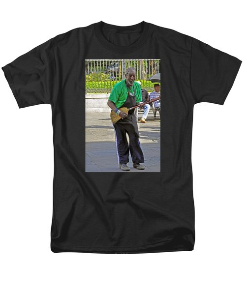Men's T-Shirt  (Regular Fit) featuring the photograph The Broom Musician by Helen Haw