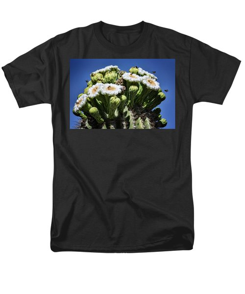 Men's T-Shirt  (Regular Fit) featuring the photograph The Busy Little Bees On The Saguaro Blossoms  by Saija Lehtonen