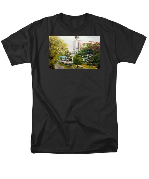 Men's T-Shirt  (Regular Fit) featuring the painting The Church In My Village by Jason Sentuf
