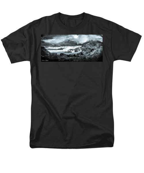 Men's T-Shirt  (Regular Fit) featuring the photograph The Falls In Black And White by Andrew Matwijec