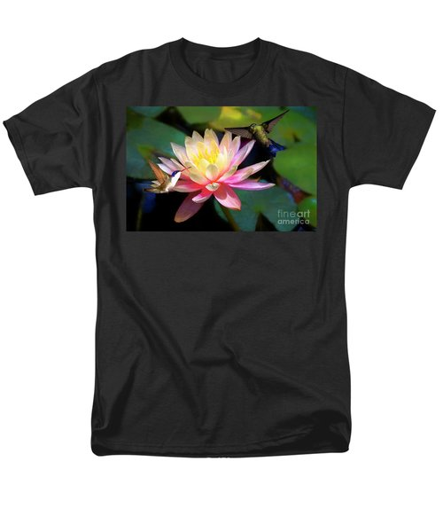 The Grutas Water Lillie With Hummingbirds Men's T-Shirt  (Regular Fit) by John Kolenberg