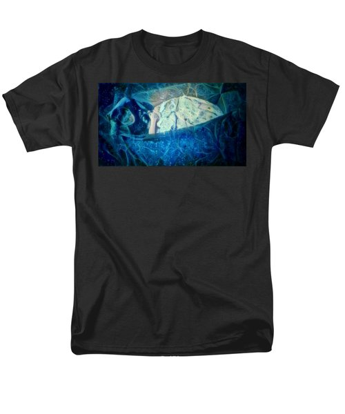 Men's T-Shirt  (Regular Fit) featuring the digital art The Little Prince Floating In Box On A Sea Of Dreams With Chaotic Swirls And Waves Of Thought Hope Love And Freedom Portrait Of A Boy Sleeping In A Cardboard Box On An Ocean Of Inspiration by MendyZ