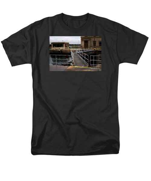 The Locks At Sault Ste Marie Michigan Men's T-Shirt  (Regular Fit) by David Blank