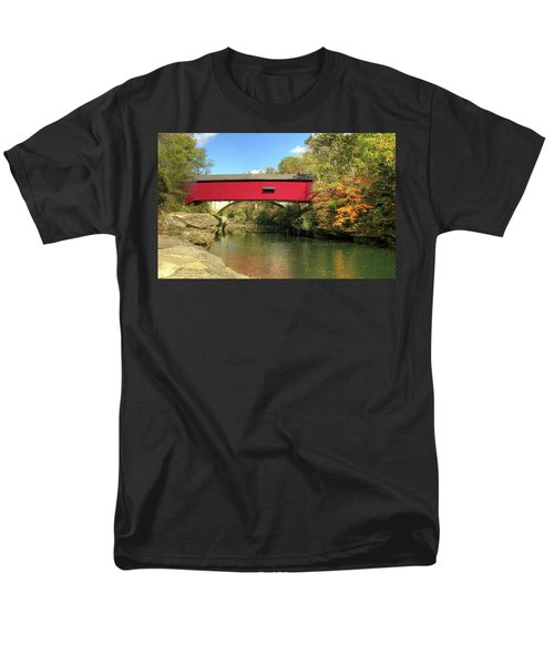 Men's T-Shirt  (Regular Fit) featuring the photograph The Narrows Covered Bridge - Sideview by Harold Rau