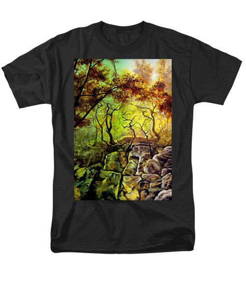 Men's T-Shirt  (Regular Fit) featuring the painting The Rocks In Starachowice by Henryk Gorecki
