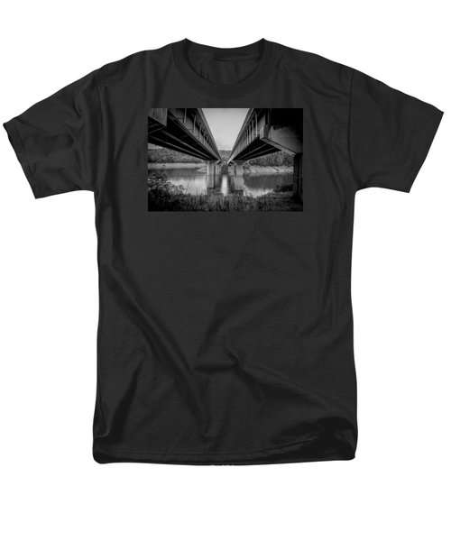 Men's T-Shirt  (Regular Fit) featuring the photograph The Underside Of Two Bridges Symmetry In Black And White by Kelly Hazel