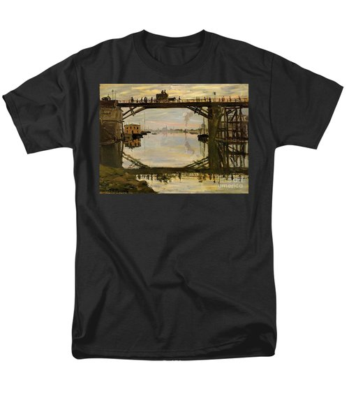 The Wooden Bridge Men's T-Shirt  (Regular Fit) by Monet