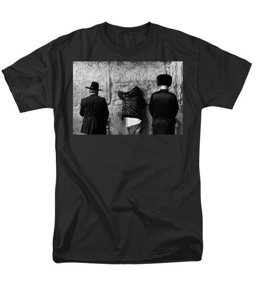 Men's T-Shirt  (Regular Fit) featuring the photograph Three Different Selichot Prayers At The Kotel by Yoel Koskas
