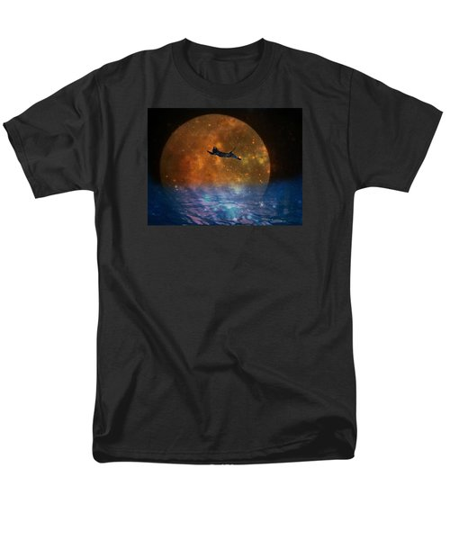 To The Moon And Back Cat Men's T-Shirt  (Regular Fit) by Kathy Barney