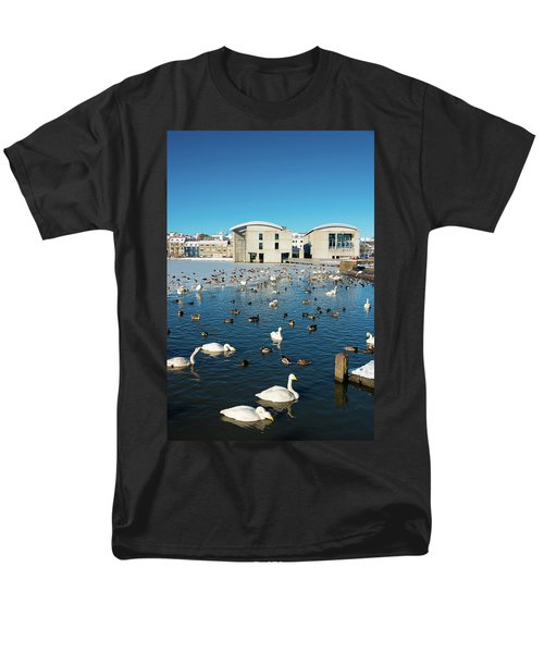 Men's T-Shirt  (Regular Fit) featuring the photograph Town Hall And Swans In Reykjavik Iceland by Matthias Hauser