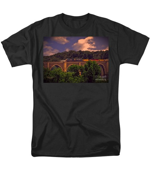 Men's T-Shirt  (Regular Fit) featuring the photograph Train Trestle Over The James by Melissa Messick