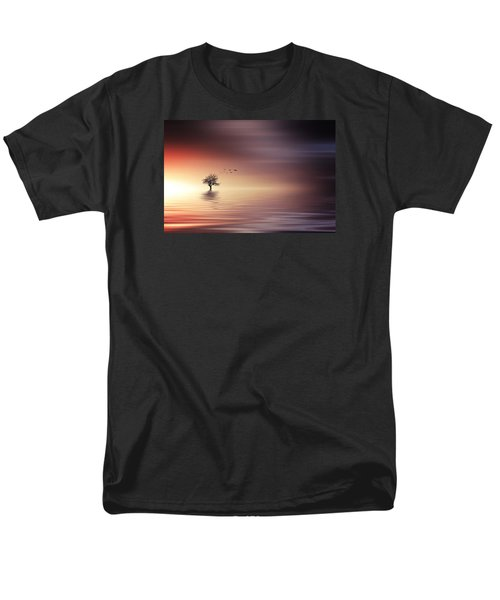 Tree And Birds On Lake Sunset Men's T-Shirt  (Regular Fit) by Bess Hamiti
