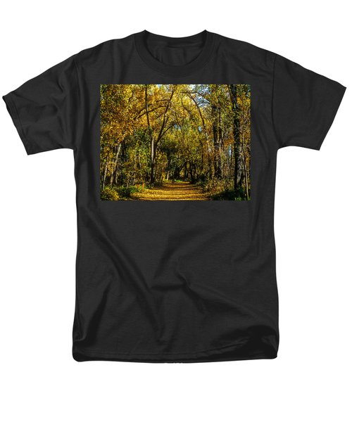 Trees Over A Path Through The Woods In Fall Color Men's T-Shirt  (Regular Fit) by John Brink