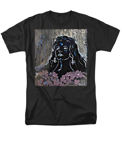 Men's T-Shirt  (Regular Fit) featuring the painting Tribute To Amalia Rodrigues by AmaS Art