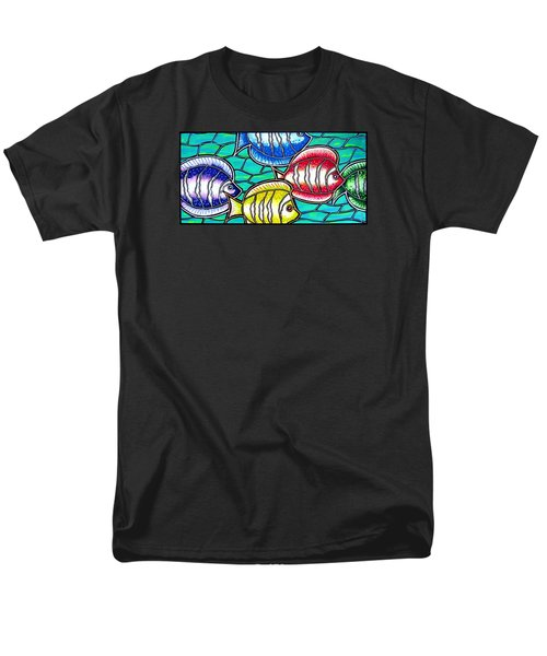 Men's T-Shirt  (Regular Fit) featuring the painting Tropical Fish Swim by Jim Harris