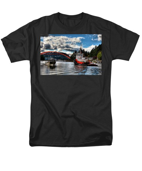 Tugboat At The Rainbow Bridge Men's T-Shirt  (Regular Fit) by David Patterson