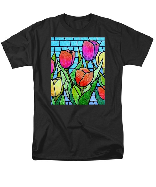 Men's T-Shirt  (Regular Fit) featuring the painting Tulip Garden by Jim Harris