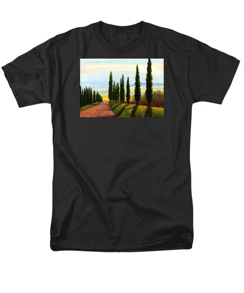 Men's T-Shirt  (Regular Fit) featuring the painting Tuscany Cypress Trees by Janet King