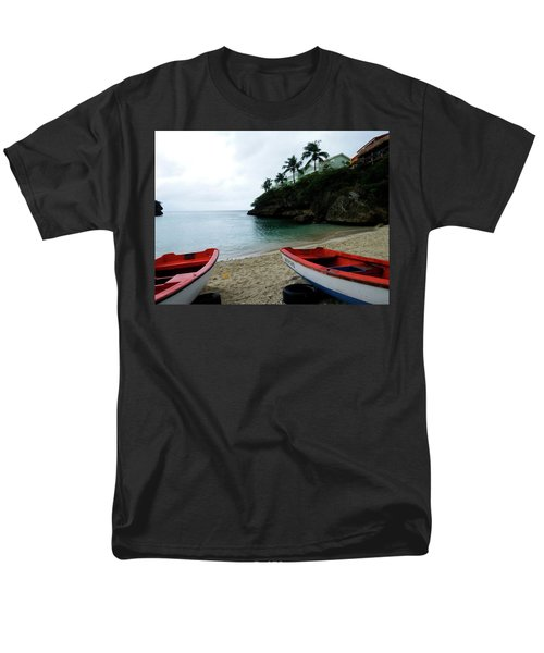 Men's T-Shirt  (Regular Fit) featuring the photograph Two Boats, Island Of Curacao by Kurt Van Wagner