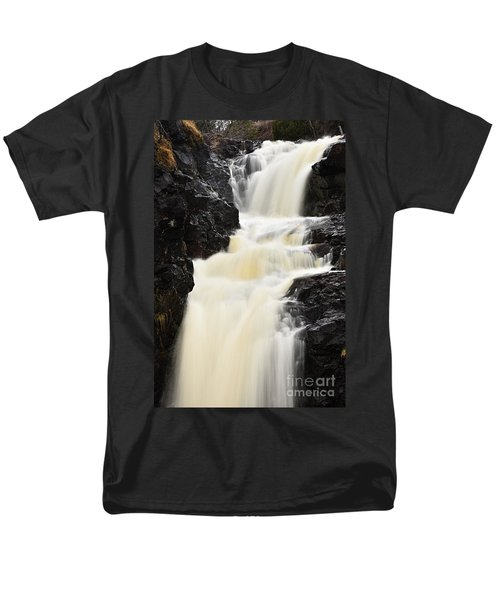 Men's T-Shirt  (Regular Fit) featuring the photograph Two Island River Waterfall by Larry Ricker
