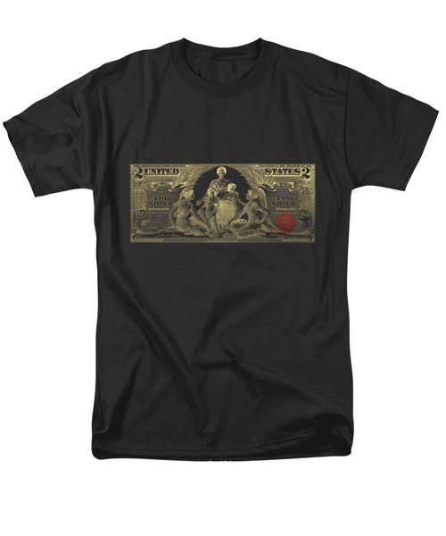 Men's T-Shirt  (Regular Fit) featuring the photograph Two U.s. Dollar Bill - 1896 Educational Series In Gold On Black  by Serge Averbukh