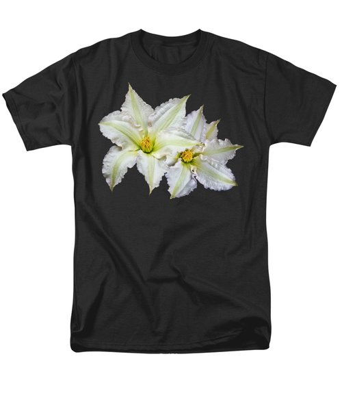Men's T-Shirt  (Regular Fit) featuring the photograph Two White Clematis Flowers On Black by Jane McIlroy