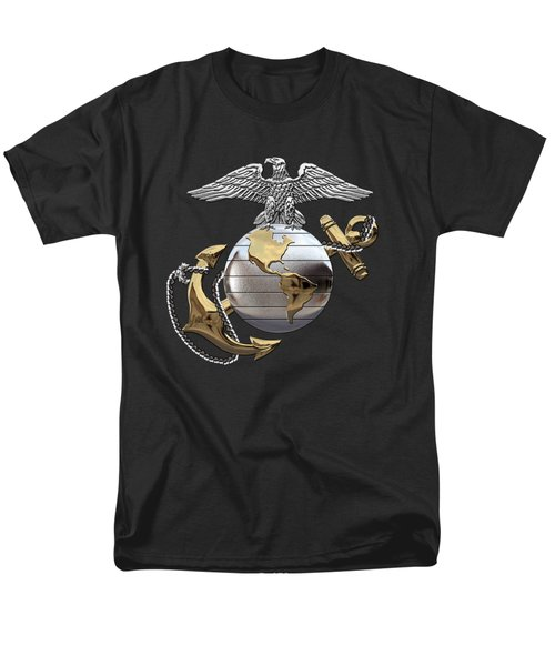 U S M C Eagle Globe And Anchor - C O And Warrant Officer E G A Over Black Velvet Men's T-Shirt  (Regular Fit) by Serge Averbukh