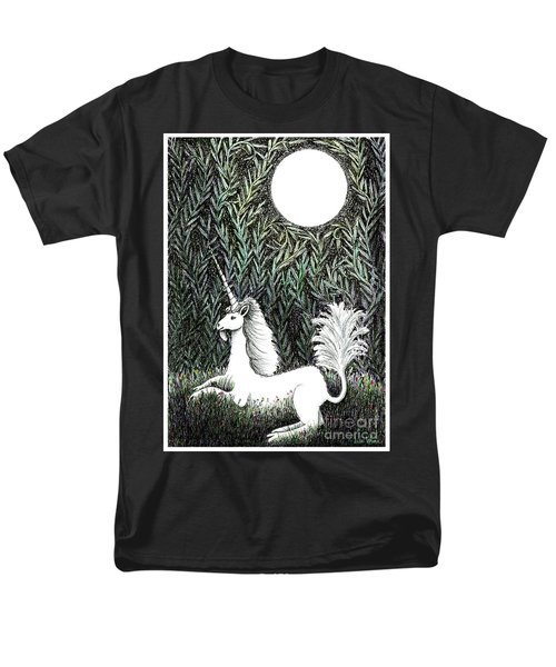 Men's T-Shirt  (Regular Fit) featuring the drawing Unicorn In Moonlight by Lise Winne