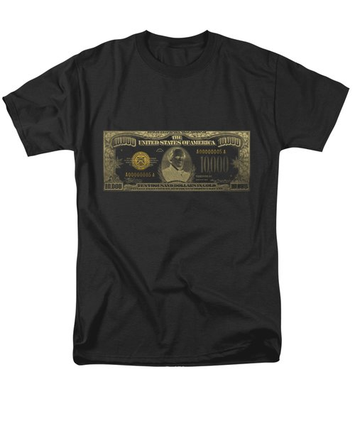Men's T-Shirt  (Regular Fit) featuring the digital art U.s. Ten Thousand Dollar Bill - 1934 $10000 Usd Treasury Note In Gold On Black by Serge Averbukh
