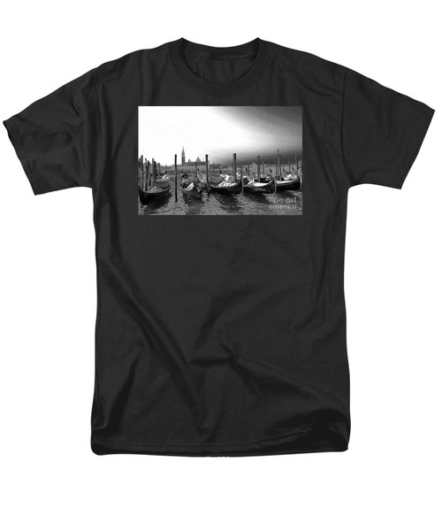 Men's T-Shirt  (Regular Fit) featuring the photograph Venice Gondolas Black And White by Rebecca Margraf
