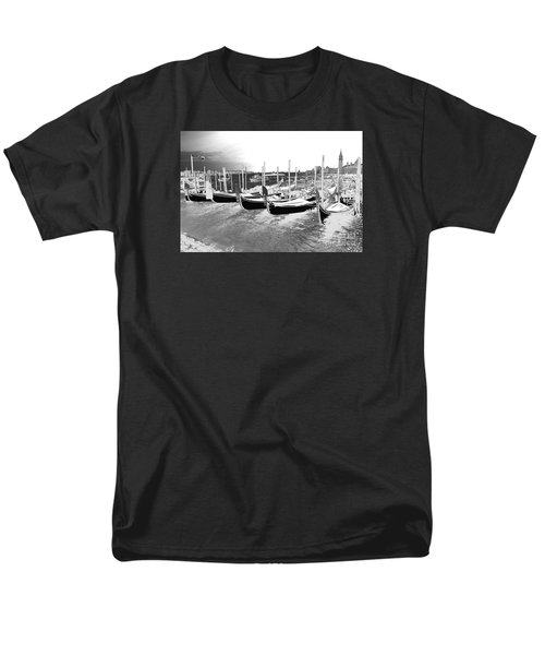 Men's T-Shirt  (Regular Fit) featuring the photograph Venice Gondolas Silver by Rebecca Margraf