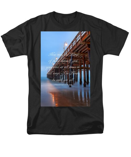 Men's T-Shirt  (Regular Fit) featuring the photograph Ventura Ca Pier With Bible Verse by John A Rodriguez