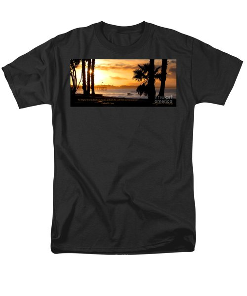 Men's T-Shirt  (Regular Fit) featuring the photograph Ventura California Sunrise With Bible Verse by John A Rodriguez