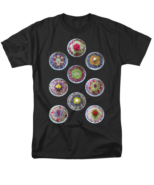 Men's T-Shirt  (Regular Fit) featuring the photograph Vibrant Floating Flowers On Black by Gill Billington