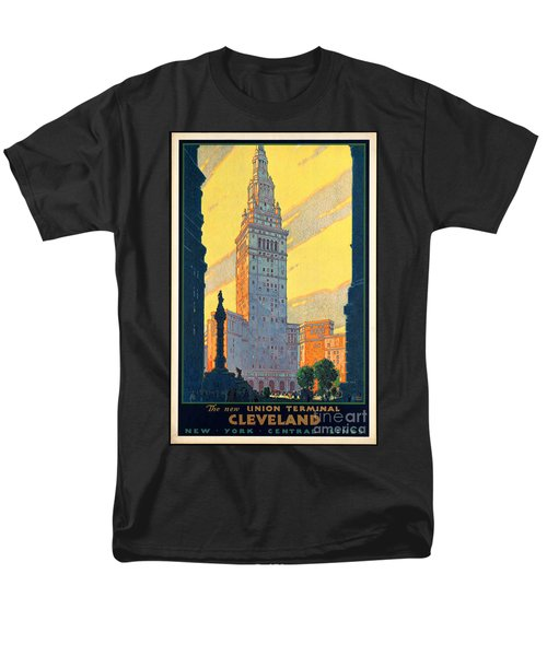 Vintage Cleveland Travel Poster Men's T-Shirt  (Regular Fit) by George Pedro