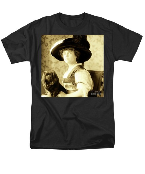 Vintage Lady With Lapdog Men's T-Shirt  (Regular Fit) by Marian Cates
