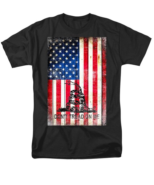 Viper On American Flag On Old Wood Planks Vertical Men's T-Shirt  (Regular Fit) by M L C