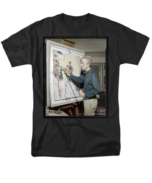 Men's T-Shirt  (Regular Fit) featuring the photograph Waiting For The Vet Norman Rockwell by Martin Konopacki Restoration