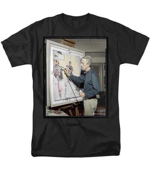 Waiting For The Vet Norman Rockwell Men's T-Shirt  (Regular Fit) by Martin Konopacki Restoration