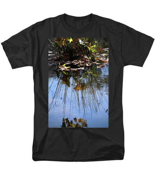 Men's T-Shirt  (Regular Fit) featuring the photograph Water Reflection Of Plant Growing In A Stream by Emanuel Tanjala