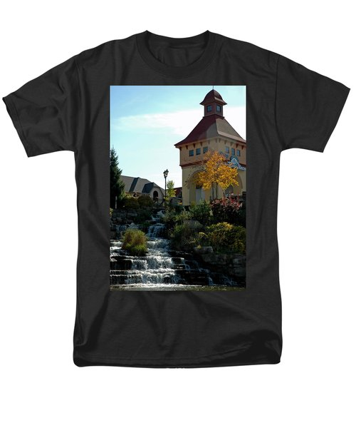Men's T-Shirt  (Regular Fit) featuring the photograph Waterfall Frankenmuth Mich by LeeAnn McLaneGoetz McLaneGoetzStudioLLCcom