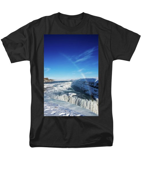 Men's T-Shirt  (Regular Fit) featuring the photograph Waterfall Gullfoss In Winter Iceland Europe by Matthias Hauser