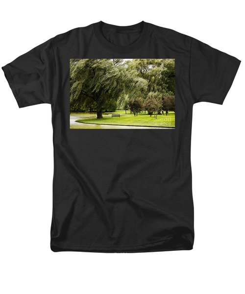 Weeping Willow Trees On Windy Day Men's T-Shirt  (Regular Fit) by Carol F Austin